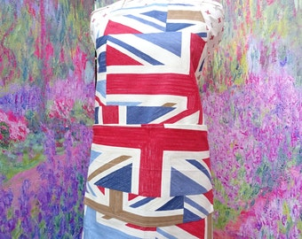 Aprons with pockets.  Union Jack . Adjustable Neck Strap.  With or Without Hand Embroidered Name Option