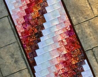 """Batik table runner  Quilted batik bargello table runner 14"""" x 30.5""""  table topper dresser scarf"""