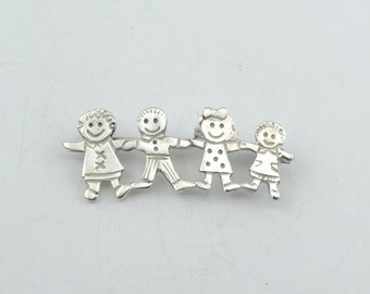 Small Vintage Children Sterling Silver Brooch/Pin  #CHILDREN-BR2