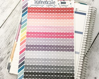 S-797 || Date Square Stickers for Planner (352 Removable Matte Stickers)