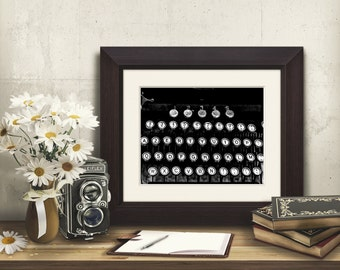 typewriter keys art, Remington print, decor for office, gift for authors writers, French Underwood photo, black and white retro picture art