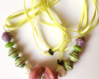 Bright Colours Funky Beaded Necklace, Recycled Beads Tassel Necklace, Ugandan Beads Colourful Fashion Necklace, Ethical Eco Fashion Necklace