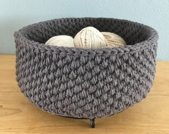 Gray cotton crochet storage basket-handmade cotton bowl-crocheted bathroom nursery storage-storage bin-crochet bin-crochet bowl-twine
