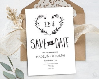 Save the Date Template, Printable Save the Date Card, INSTANT DOWNLOAD, Editable Text - 5x7, Wreath Heart STD006, VW08