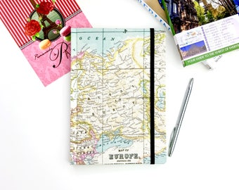 A5 travel journal, map notebook, europe, hardback workbooks, stationery