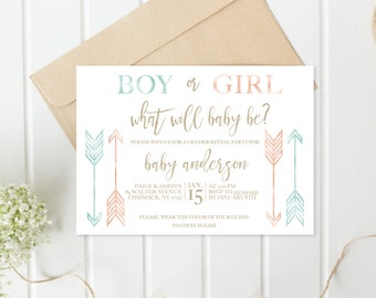 Gender Reveal Invitation, Gender Reveal Party, Gender Reveal, Boy Or Girl,  Gender Reveal Party Invitation, Boho Gender Reveal Invitation