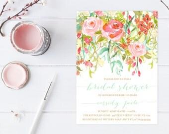 Bridal Shower Invitation, Bridal Shower Invite, Floral Bridal Shower Invitation, Printable Bridal Shower Invitation, Boho, Watercolor [391]
