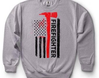 American Firefighter US Proud Firefighter Sweatshirt Gift For Firefighter Sweater