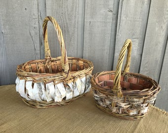Birch baskets/ rustic basket/basket with birch/ woodland basket/ rustic basket/ woodland rustic basket/wedding basket/wedding program basket