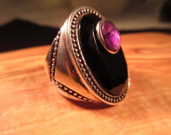 Retro Sterling Silver Multi Stone Ring - 8