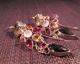 Cool Vintage Sterling Silver Multi Gemstone Earrings - India
