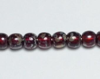 60pcs Dark Red Picasso Beads - Czech Glass Beads - 4mm Beads - Jewelry Supplies - GB345
