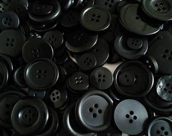 Black Button Mix - Assorted Buttons - Craft Buttons - Sewing Buttons - Plastic Buttons - Buttons For Clothing - 50g (approx. 90pcs) - CUK7