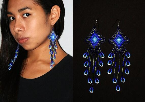 Native American Earrings with Dangles, Long Dangling Huichol Earrings, Eye of God Earrings, Ojo de Dios Earrings, Seed Bead Earrings