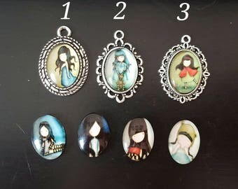 Blythe Doll Custom Set of 2 Pull Charms Pull Strings Girl Doll Oval Beads 16 MM Cabochons