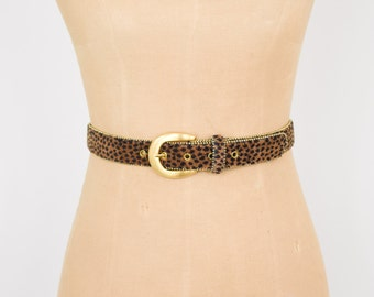 Leopard Print Belt   Gold & Faux Fur Skinny Belt   Animal Print Belt