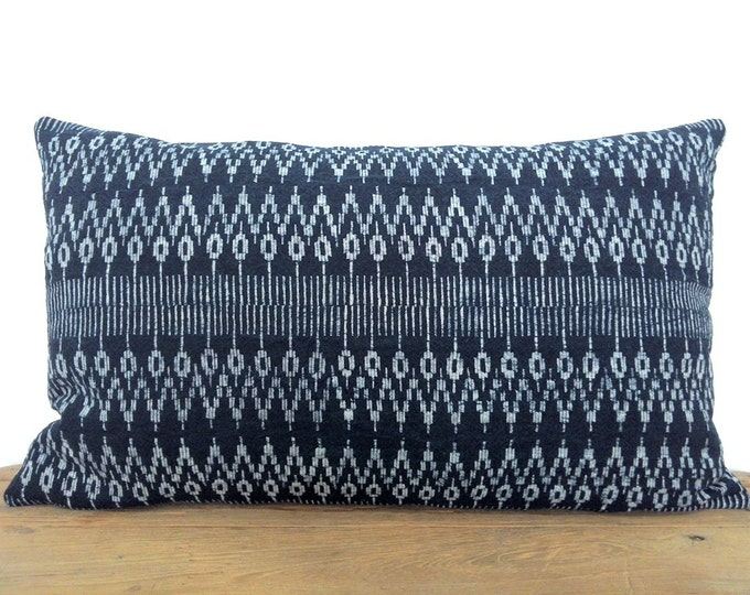 Hand Dyed Hmong Indigo Batik Pillow Cover, Handspun Geometric Boho Hill Tribe Cotton Pillow