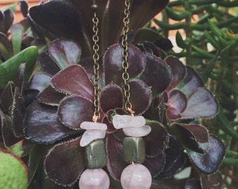 Rose Quartz and Pyrite Earings