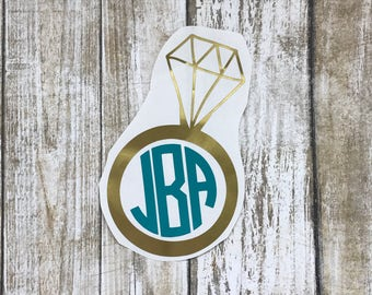 Engagement Ring Monogram Decal / wedding decal / engagement decal / monogram decal / car decal / personalized decal / ring monogram /