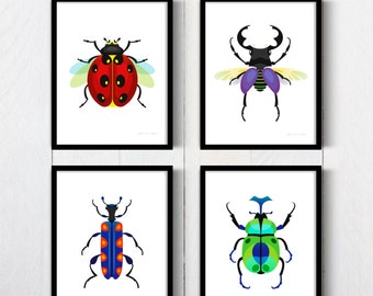 Printable Bugs Posters Set of 4, Insect prints, Bugs Posters, Beetle Posters, Beetle Insect Art, Bugs Art, Bugs Prints, Bugs Poster, Insects