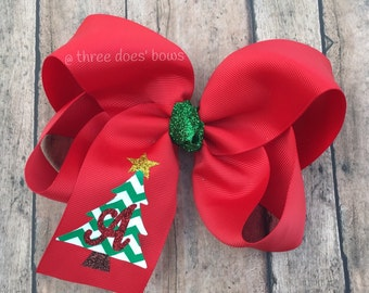 "Christmas Bows - 6"" Christmas Bows -Chritsmas Hair Bow - 6"" Christmas Hair Bow - 6"" Christmas  Boutique Bow - Christmas Monogram Bow"