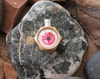 Brass nut eyeball steampunk pendant necklace metalwork gift