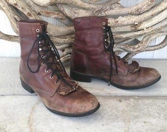 Vintage 90s Ariat Brown Leather Lace Up Kiltie Roper Boots / Women's Size US 10.5