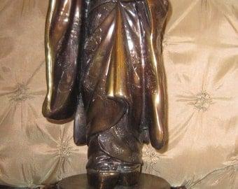 Vintage Bronze Japanese Geisha Figurine, Asian Art, Bronze Statue, Geisha Girl,