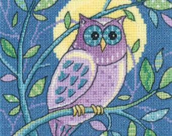 Heritage Crafts - Owl Cross Stitch Kit from the Woodland Creatures Collection by Karen Carter