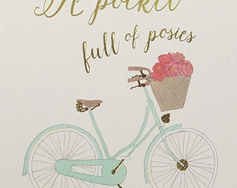 A pocket full of posies bicycle blank foiled card, Everyday card for Thank you, Pretty Card for thinking of you, Floral greeting  card