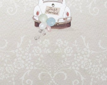 VW Beetle Just Married Wedding Day Greeting Card, Pretty romantic wedding day car greeting card