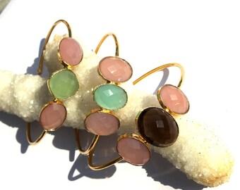22kt Gold Plated 3 Stone Bangle Bracelet / Smoky Quartz, Aqua & Pink Chalcedony Adjustable Cuff Bracelet / Fashion Jewelry  BR03