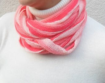 Cotton scarf, pink scarf, pink ombre, mother gift from son, noodle scarf, eternity scarf, loop scarf, womens scarves, womens gift cheap gift