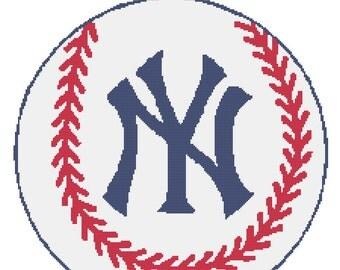 NY Yankees Logo -- Counted Cross Stitch Chart Patterns, 3 sizes!