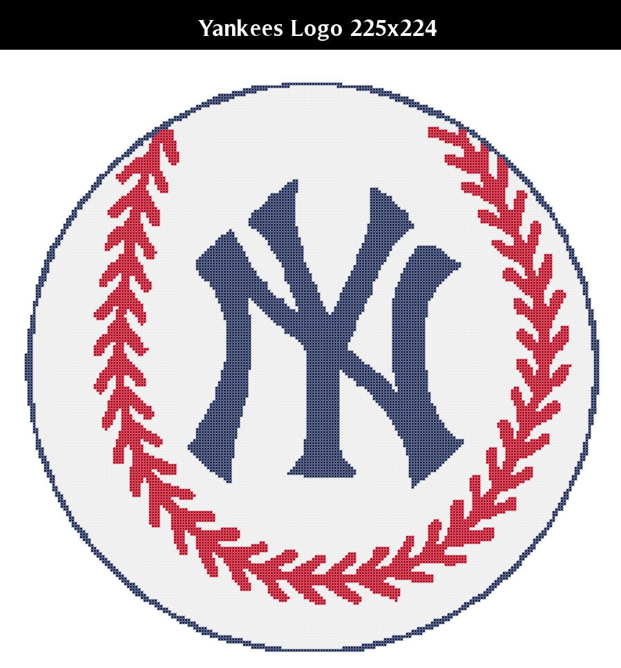 Ny yankees logo counted cross stitch chart patterns 3 sizes this is a digital file biocorpaavc