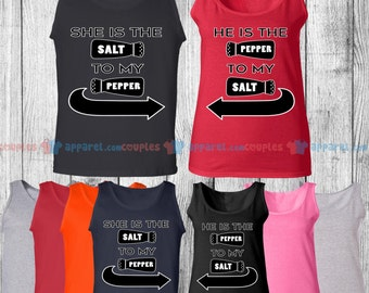 She is the Salt & He is the Pepper - Matching Couple Tank Top - His and Her Tank Tops - Love Tank Tops