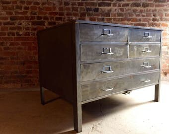 Industrial Steel Chest of Drawers Dresser Planters Chest Mid Century