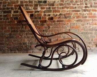 Magnificent Antique Thonet Chair Bentwood Rocker Cane Victorian 19th Century