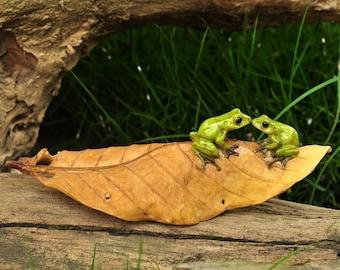 Fairy Garden  - Kissing Frogs On Leaf - Miniature