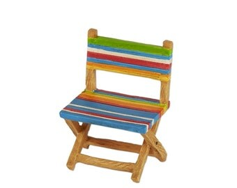 Fairy Garden  - Multicolored Stripe Beach Chair - Miniature