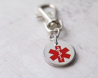 Medical Alert Key Ring - Medical Alert Personalized - Medical ID Charm