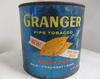 Granger Tobacco can for man cave decoration, rustic country decor, vintage gift for him, distressed decor, Industrial loft, lighting supply