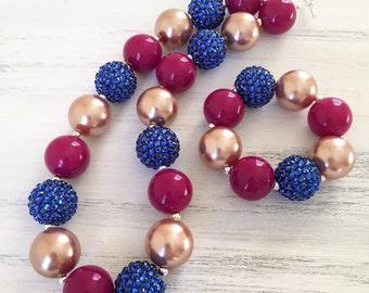Plum and Blue Sparkle Bubblegum Necklace, Chunky Toddler Necklace, Baby Necklace and Bracelet Set,