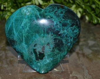Chrysocolla Heart, Chrysocolla Heart 102 MM, Chrysocolla Heart.