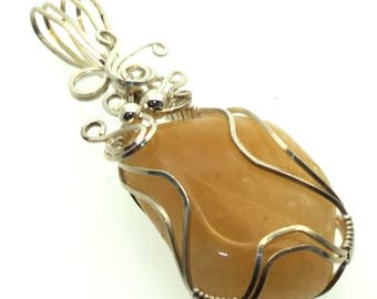 Citrine Gemstone Wire Wrapped Pendant Design 3