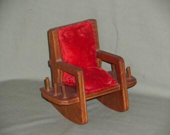 Vintage Wood Rocking Chair Pin Cushion   Wooden Sewing Caddy Thread Holder Handmade   Original Makers Card Warren Phillips, Siler City, NC