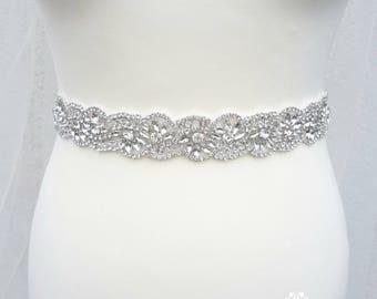 Wedding sash, bridal sash, bridal trim, wedding belt, crystal trim, Rhinestone belt, Bridal belt, handmade, crystal trim, PATRICIA
