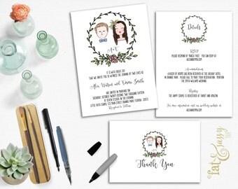 Hand Painted Couple Portrait Wedding Invitation Suite, Minimalist Invitation Set, Printable, Invitation, Details, and Thank You Card
