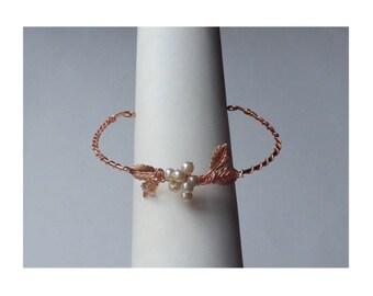 Rose Gold Bracelet, Boho Bracelet, Bridal Bracelet, Pearl Leaf Bangle, Gift For Her, Bridesmaids Gift, Wedding Bracelet Adjustable Bracelet,