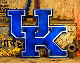 University of Kentucky 3 Layer Logo Vintage Blue on Natural Steel